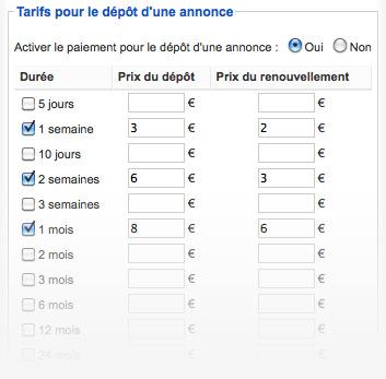 Module de paiement pour site d'annonces
